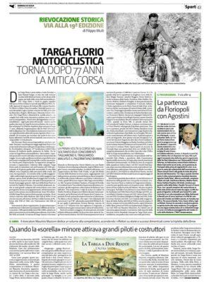 LA PAGINA SPECIALE sulla XIX Targa Florio Motociclistica sul Giornale di Sicilia di oggi.