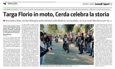 Giornale di Sicilia:«Targa Florio in moto, Cerda celebra ala storia»