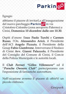 """Inaugurazione del nuovo parcheggio """"ParkinGO"""" in via Cristoforo Colombo (zona aereoporto) a Cinisi"""