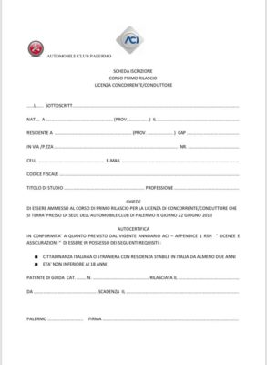 Corso di primo rilascio della licenza di conduttore Acisport.